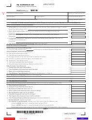 """Form Pa-40 Schedule Ue """"Allowable Employee Business Expenses"""" - Pennsylvania, 2018"""