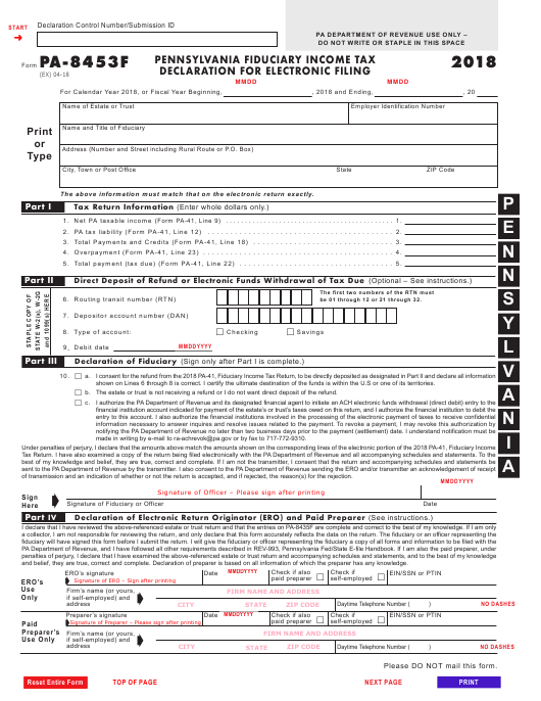 Form PA-8453F 2018 Printable Pdf