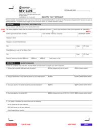 """Form REV-1196 """"Identity Theft Affidavit"""" - Pennsylvania"""