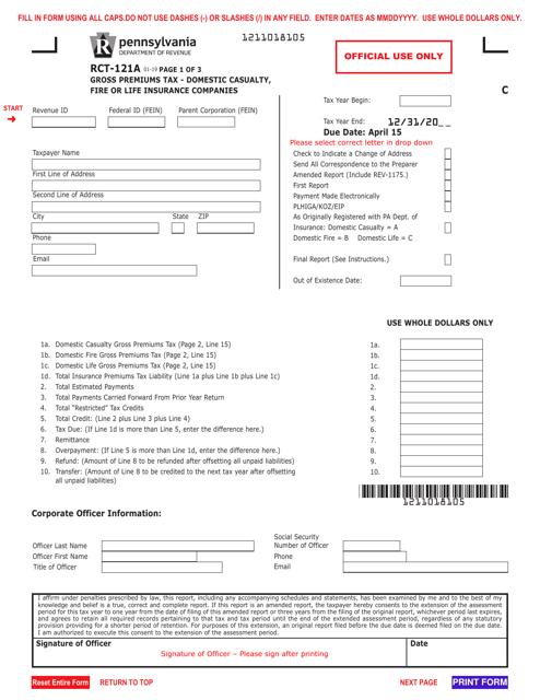 Form RCT-121A  Printable Pdf