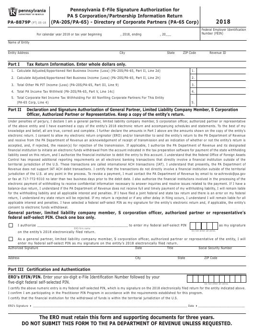 Form PA-8879P 2018 Printable Pdf