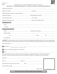 "OTC Form 737 ""Affidavit of Repossession of a Vehicle, Boat or Outboard Motor"" - Oklahoma"