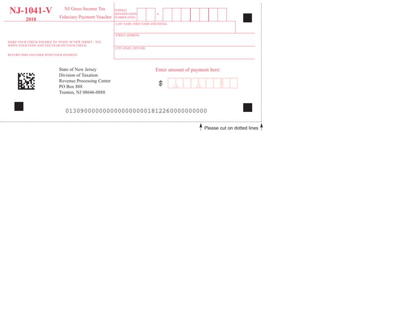 Form NJ-1041-V 2018 Printable Pdf