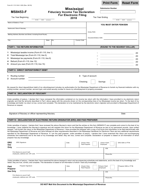 Form 81-115-18-8-1-000 (MS8453-F) 2018 Printable Pdf