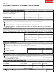 "Form 151 ""Authorized Representative Declaration (Power of Attorney)"" - Michigan"