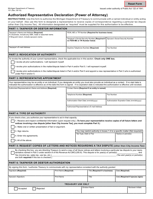 power of attorney form 151  Form 7 Download Fillable PDF, Authorized Representative ...
