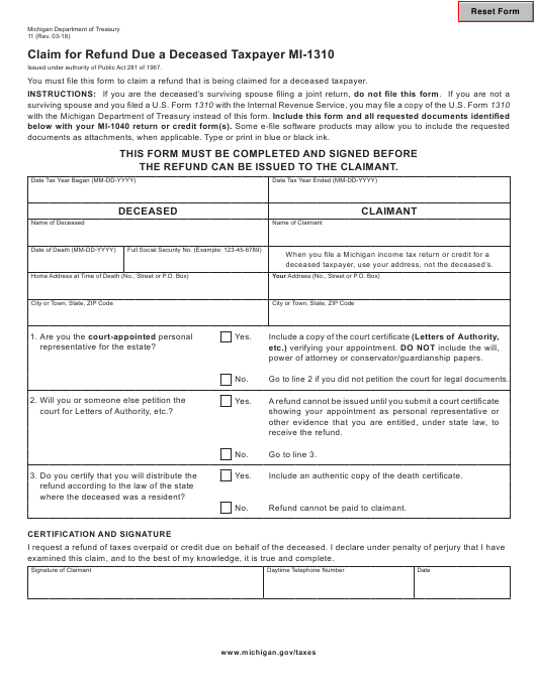 Form 11 (MI-1310)  Printable Pdf