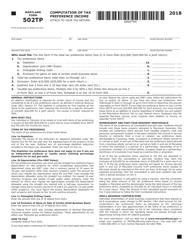 "Form COM/RAD-016 (Maryland Form 502TP) ""Computation of Tax Preference Income"" - Maryland, 2018"