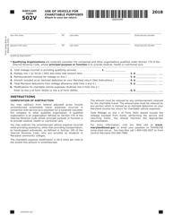 "Form COM/RAD018 (Maryland Form 502V) ""Charitable Purposes"" - Maryland, 2018"