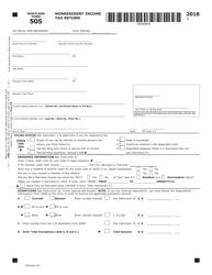 "Form COM/RAD-022 (Maryland Form 505) ""Nonresident Income Tax Return"" - Maryland, 2018"
