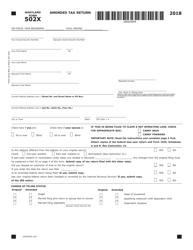 """Form COM/RAD019 (Maryland Form 502X) """"Amended Tax Return"""" - Maryland, 2018"""