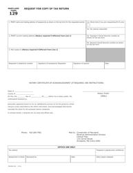 "Form COM/RAD-029 (Maryland Form 129) ""Request for Copy of Tax Return"" - Maryland"