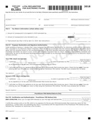 """Form COM/RAD-059 (Maryland Form EL101) """"E-File Declaration for Electronic Filing"""" - Maryland, 2018"""