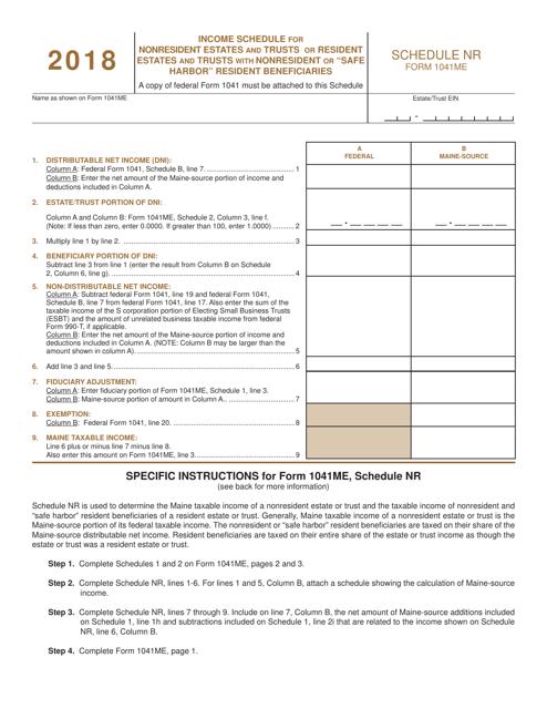 Form 1041ME Schedule NR 2018 Printable Pdf