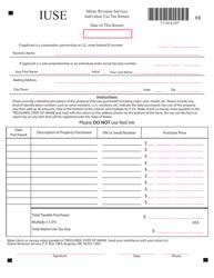 "Form IUSE ""Individual Use Tax Return"" - Maine"