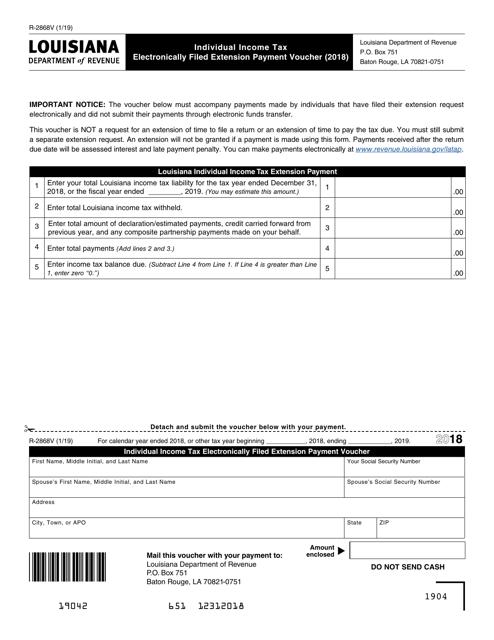 Form R-2868V 2018 Printable Pdf