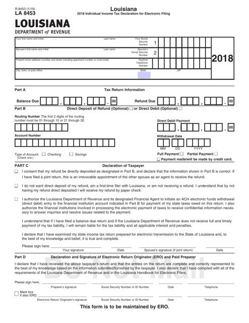 Form R-8453 2018 Printable Pdf