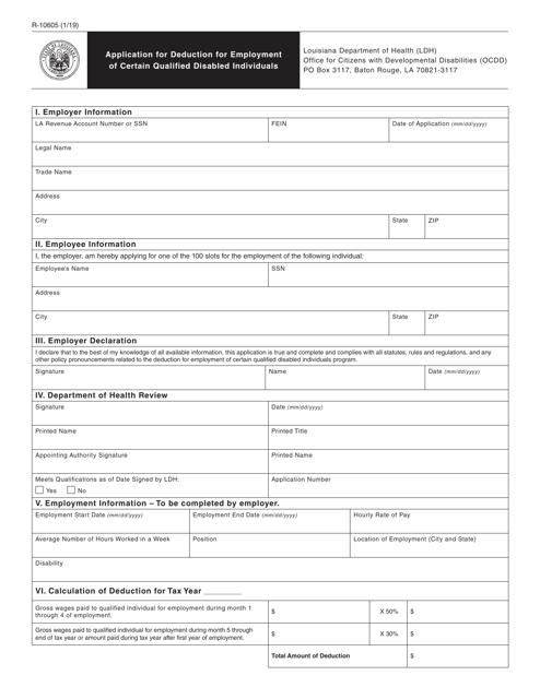 Form R-10605 Printable Pdf
