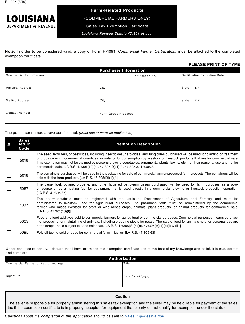 form tax certificate exemption louisiana sales farm 1007 related pdf fill printable template templateroller data
