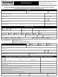 "Form R-1331 ""Boat Registration Tax Payment Certification"" - Louisiana"