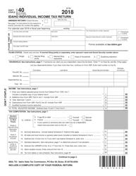 Form EFO 00089 2018 Form 40 - Idaho Individual Income Tax Return - Idaho