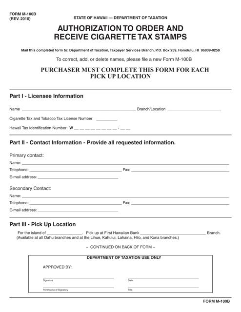 Form M-100B  Printable Pdf