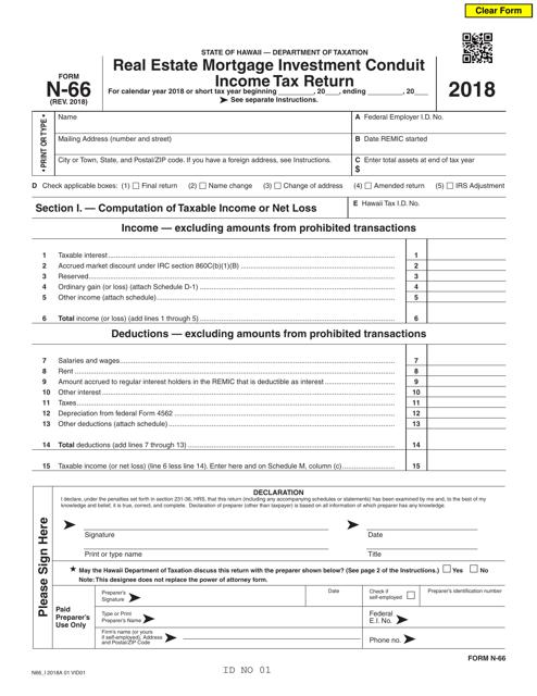 Form N-66 2018 Printable Pdf
