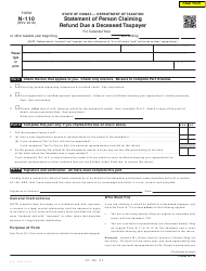 """Form N-110 """"Statement of Person Claiming Refund Due a Deceased Taxpayer"""" - Hawaii"""