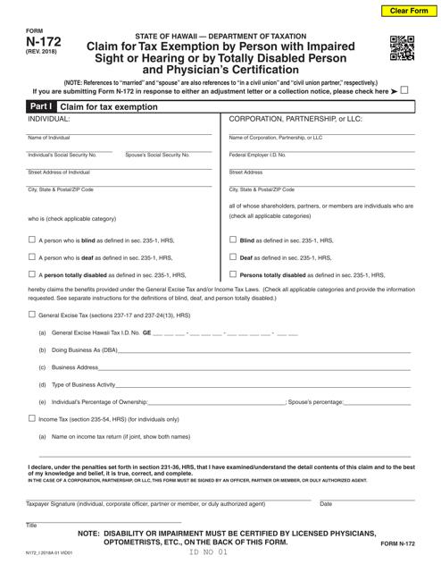 Form N-172 Fillable Pdf