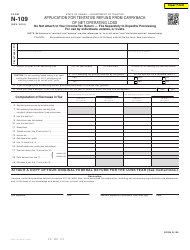 """Form N-109 """"Application for Tentative Refund From Carryback of Net Operating Loss"""" - Hawaii"""