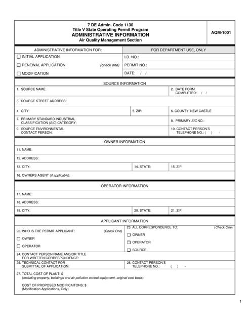 Form AQM-1001  Printable Pdf