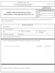 """Form AQM-1001Z """"Compliance Schedule for Noncomplying Emissions Units"""" - Delaware"""