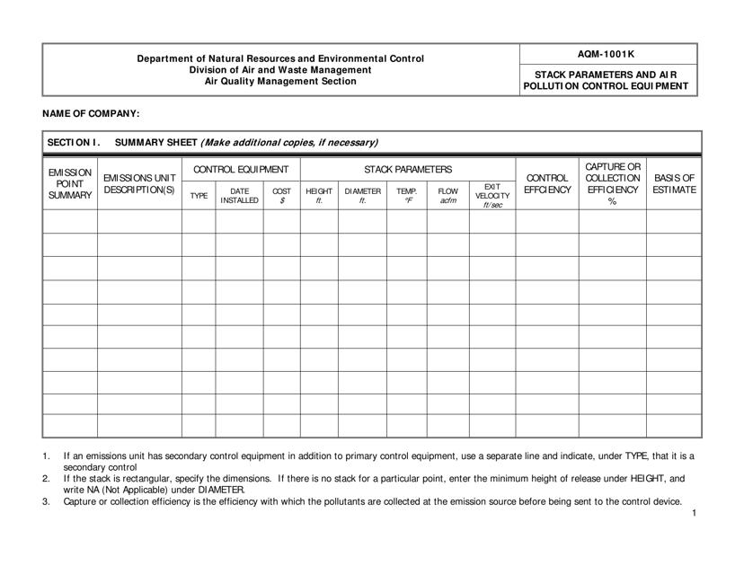 Form AQM-1001K  Printable Pdf