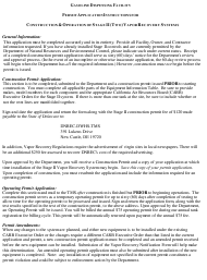 """""""Stage Ii Vapor Recovery System Construction and Operating Permit Applications"""" - Delaware"""