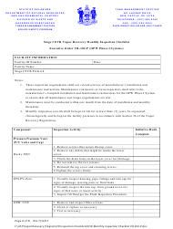 """""""Stage I Evr Vapor Recovery Monthly Inspection Checklist"""" - Delaware"""