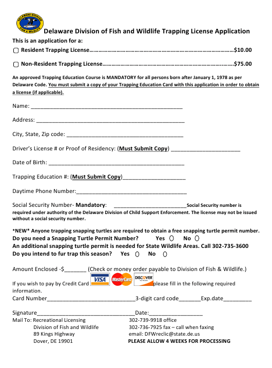 """""""Trapping License Application Form"""" - Delaware Download Pdf"""