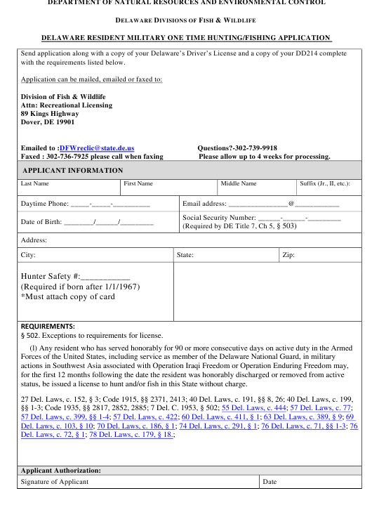 """""""Delaware Resident Military One Time Hunting/Fishing Application Form"""" - Delaware Download Pdf"""