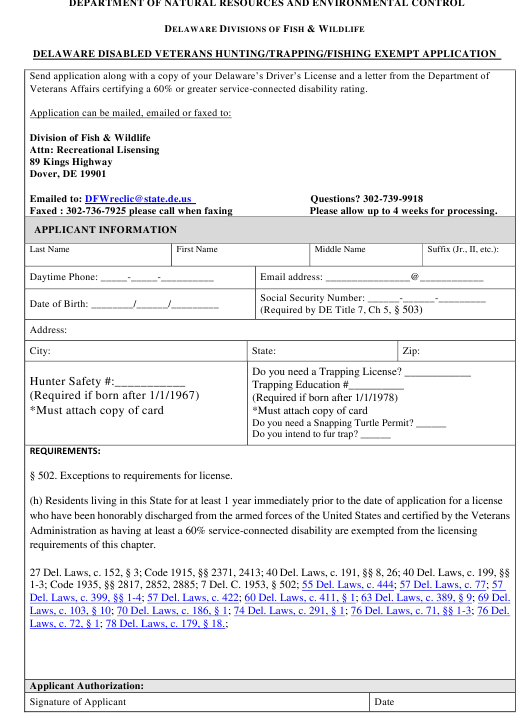 """Delaware Disabled Veterans Hunting/Trapping/Fishing Exempt Application Form"" - Delaware Download Pdf"