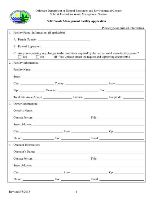 """Solid Waste Management Facility Application Form"" - Delaware Download Pdf"
