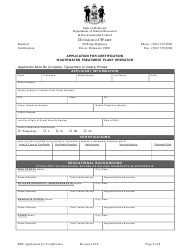 """""""Application for Certification Wastewater Treatment Plant Operator"""" - Delaware"""