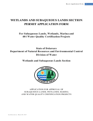 """""""Wetlands and Subaqueous Lands Section Permit Application Form"""" - Delaware"""