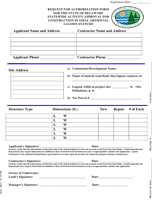 """""""Request for Authorization Form for the State of Delaware Statewide Activity Approval for Construction in Tidal Artificial Lagoon Systems"""" - Delaware Download Pdf"""
