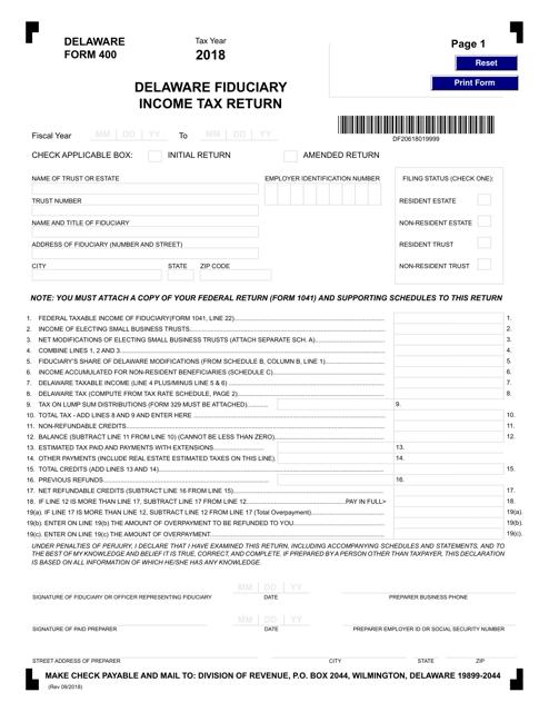 Form 400 2018 Printable Pdf