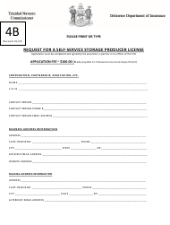 "Form 4B ""Request for a Self-service Storage Producer License"" - Delaware"