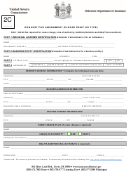 "Form 2C ""Request for Amendment"" - Delaware"