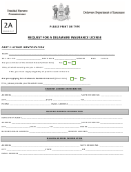 "Form 2A ""Request for a Delaware Insurance License"" - Delaware"