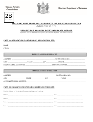 "Form 2B ""Request for Business Entity Insurance License"" - Delaware"