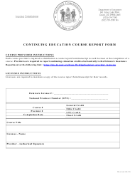 """Continuing Education Course Report Form"" - Delaware"