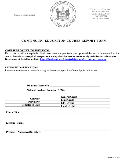 """Continuing Education Course Report Form"" - Delaware Download Pdf"