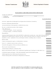 """Managed Care Organization Checklist"" - Delaware"